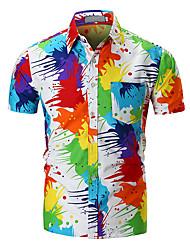 Недорогие -Муж. Рубашка Классический Контрастных цветов / камуфляж