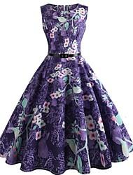 abordables -Mujer Vintage Corte Swing Vestido - Estampado, Floral Hasta la Rodilla