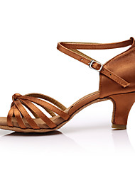 cheap -Women's Latin Shoes Satin Sandal / Heel Splicing Customized Heel Customizable Dance Shoes Brown / Indoor