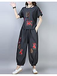 billige -Dame Løstsiddende Sæt - Ensfarvet / Blomstret Bukse