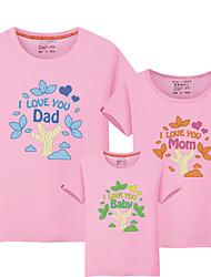 baratos -3 Peças Bébé Olhar de família Estampa Colorida / Letra Manga Curta Camiseta