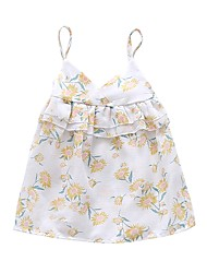 baratos -Bébé Para Meninas Flor do sol Floral Estampado Sem Manga Vestido