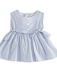 abordables -bébé Fille Bleu & blanc Rayé Sans Manches Robe