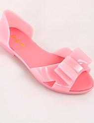 Недорогие -Жен. Обувь ПВХ Лето Силиконовая обувь Сандалии На плоской подошве Открытый мыс Бант для на открытом воздухе Синий / Розовый / Миндальный