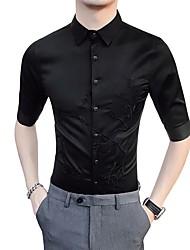 Недорогие -Муж. Рубашка Деловые Классический Цветочный принт