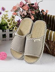 baratos -Mulheres Sapatos Linho Primavera Conforto Chinelos e flip-flops Sem Salto para Casual Preto
