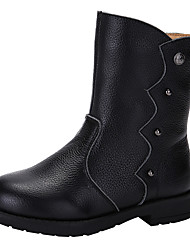 cheap -Girls' Shoes Cowhide Fall / Winter Fashion Boots / Combat Boots Boots Rivet for Black / Coffee / Red
