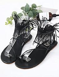 cheap -Women's Shoes Synthetic Microfiber PU Spring & Summer Gladiator Sandals Flat Heel Tassel White / Black