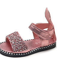 cheap -Girls' Shoes PU Summer Comfort / Light Soles Sandals Walking Shoes for Kids Black / Silver / Pink / Peep Toe / Wedding / Party & Evening