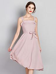 baratos -Mulheres Sofisticado / Moda de Rua Evasê / Bainha Vestido Acima do Joelho