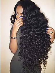 cheap -Virgin Human Hair Lace Front Wig Brazilian Hair Curly Wig Layered Haircut 180% With Baby Hair / For Black Women Black Women's Short / Long / Mid Length Human Hair Lace Wig