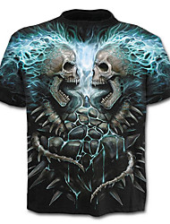 cheap -Men's Exaggerated Plus Size Cotton T-shirt - Skull Print / Short Sleeve