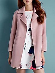 Недорогие -Жен. Большие размеры Пальто Рубашечный воротник Однотонный