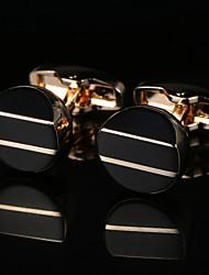 Недорогие -Геометрической формы Золотой Запонки Медь / Сплав металлический / Мода Муж. Бижутерия Назначение Свадьба / Подарок