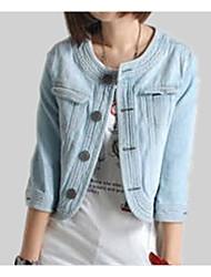 cheap -Women's Going out Cotton / Denim Denim Jacket - Solid Colored / Color Block, Patchwork