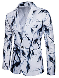 cheap -Men's Basic Street chic Blazer-Geometric,Print