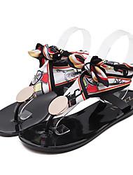 Недорогие -Жен. Обувь ПВХ Лето Удобная обувь Сандалии На плоской подошве Открытый мыс Бант / Ленты Черный / Прозрачный