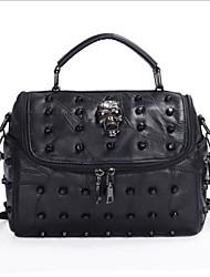 cheap -Women's Bags Genuine Leather Shoulder Bag Zipper Black / Red / Blushing Pink