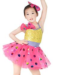 levne -Dětské taneční kostýmy Šaty Dívčí Výkon Spandex / Elastický / Tyl Mašle / Flitry Bez rukávů Přírodní Šperky do vlasů / Šaty