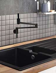 Недорогие -кухонный смеситель / Ванная раковина кран - Две ручки одно отверстие Окрашенные отделки Горшок Filler По центру