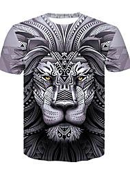 baratos -Homens Camiseta Básico / Moda de Rua Estampado, Estampa Colorida / Animal Leão