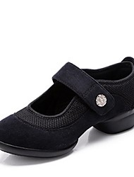 abordables -Mujer Zapatillas de Baile Sintéticos Zapatilla Corte Talón grueso Personalizables Zapatos de baile Negro / Rojo