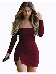 cheap -Women's Basic Bodycon Dress - Solid Colored Backless / Split