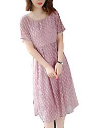 cheap -women's shift dress - polka dot above knee