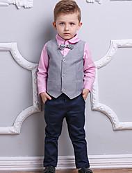 abordables -Enfants Garçon Couleur Pleine Manches Longues Ensemble de Vêtements