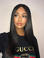 cheap -Remy Human Hair Glueless Lace Front Wig Brazilian Hair Straight Wig Free Part / With Baby Hair 130% 8-24 inch 100% Virgin / With Bleached Knots / Pre-Plucked Natural Black Women's Long Human Hair