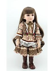 Недорогие -NPKCOLLECTION Кукла с шаром Девушка из провинции 18 дюймовый Полный силикон для тела Силикон Винил - Искусственная имплантация Коричневые глаза Детские Девочки Игрушки Подарок