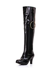 preiswerte -Damen / Unisex Schuhe Lackleder Herbst Winter Modische Stiefel Stiefel Stöckelabsatz Spitze Zehe Kniehohe Stiefel Weiß / Schwarz / Rot / Party & Festivität