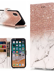 economico -Custodia Per Apple iPhone X / iPhone 8 Plus A portafoglio / Porta-carte di credito / Con supporto Integrale Effetto marmo Resistente pelle sintetica per iPhone X / iPhone 8 Plus / iPhone 8