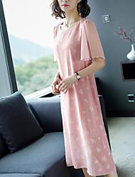preiswerte -Damen Grundlegend Hülle Kleid Solide Midi