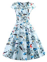 cheap -Women's Vintage Swing Dress - Floral Print