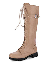 cheap -Women's Shoes Suede Fall & Winter Riding Boots / Fashion Boots Boots Block Heel Round Toe Knee High Boots Buckle White / Black / Khaki