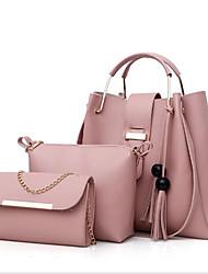 baratos -Mulheres Bolsas PU Conjuntos de saco 3 Pcs Purse Set Mocassim Rosa / Cinzento / Camel