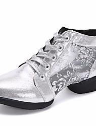abordables -Mujer Zapatillas de Baile Sintéticos Zapatilla Tacón Cubano Zapatos de baile Dorado / Negro / Plata