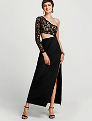 cheap -Women's Club Street chic Sheath Dress - Patchwork Black, Backless / Split High Rise Maxi One Shoulder / Spring / Fall / Cut Out