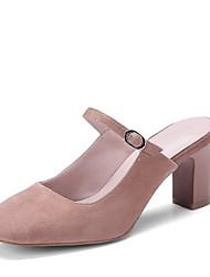 baratos -Mulheres Sapatos Camurça Verão Chanel Tamancos e Mules Salto Robusto Ponta quadrada Preto / Vermelho / Amêndoa