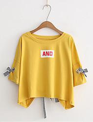 economico -T-shirt Per donna Con fiocco / Lacci / Con stampe, Tinta unita / A strisce / Alfabetico Cotone / Estate / Largo