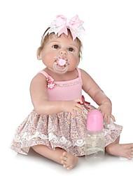 baratos -NPKCOLLECTION Bonecas Reborn Bebês Meninas 24 polegada Silicone de corpo inteiro / Silicone / Vinil - Olhos Castanhos de Implantação Artificial de Criança Para Meninas Dom