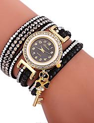 cheap -Xu™ Women's Bracelet Watch / Wrist Watch Chinese Creative / Casual Watch / Adorable PU Band Bohemian / Fashion Black / White / Blue / Imitation Diamond / Large Dial / One Year
