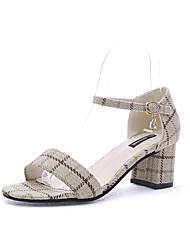 baratos -Mulheres Sapatos Couro Ecológico Primavera Verão D'Orsay Sandálias Salto Baixo Preto / Bege / Festas & Noite / Festas & Noite