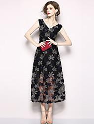 economico -Per donna Moda città / sofisticato Linea A Vestito - Retato / Con ricami, Fantasia floreale Medio