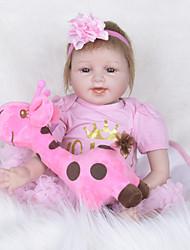 baratos -FeelWind Bonecas Reborn Bebês Meninas 22 polegada realista, Olhos Castanhos de Implantação Artificial de Criança Para Meninas Dom
