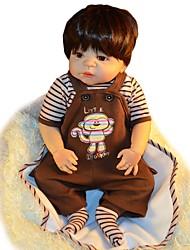 Недорогие -FeelWind Куклы реборн Мальчики 22 дюймовый Полный силикон для тела - как живой Искусственная имплантация Коричневые глаза Детские Мальчики / Девочки Игрушки Подарок