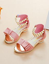 abordables -Chica Zapatos Ante Verano Confort / Zapatos para niña florista Sandalias Paseo Perla de Imitación para Niños Negro / Rojo / Rosa