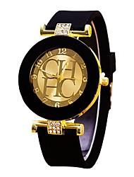 Недорогие -Для пары Наручные часы Кварцевый силиконовый Черный / Белый / Синий Секундомер Повседневные часы Cool Аналоговый Дамы Мода Часы с текстом - Зеленый Синий Розовый Один год Срок службы батареи