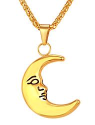 Недорогие -Муж. Длиные Ожерелья с подвесками - Нержавеющая сталь MOON Мода Золотой, Серебряный 55 cm Ожерелье Бижутерия 1шт Назначение Подарок, Повседневные